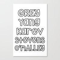 greys anatomy Canvas Prints featuring Grey Karev Yang Stevens O'malley Greys Anatomy by QueenOfAwesome95
