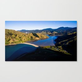 cable bay blue lagune panorama drone shot Canvas Print