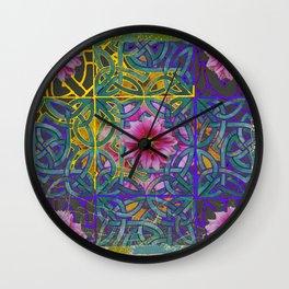 LILAC PURPLE YELLOW CELTIC PINK FLORAL ART PATTERN Wall Clock