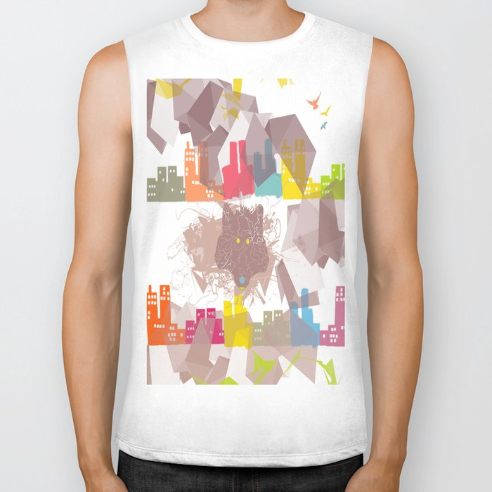 """""""the wolf in the town"""" Biker Tank"""