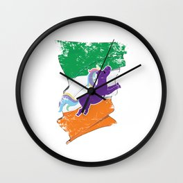 Distressed Irish Flag St Patricks Unicorn Wall Clock