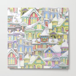 Victorian Snow Houses Metal Print