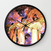 angels Wall Clocks featuring Angels by Saundra Myles