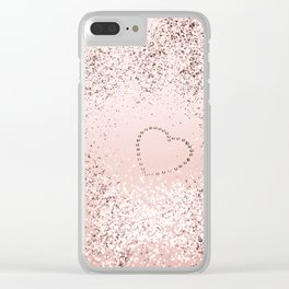 Sparkling ROSE GOLD Lady Glitter Heart #5 #decor #art #society6 Clear iPhone Case