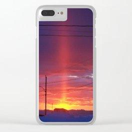 Winter Light Pillar Clear iPhone Case