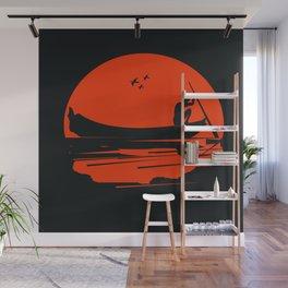 fisherman silhouette Wall Mural