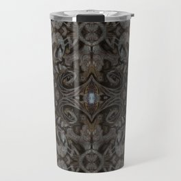 Curves & Lotuses, Black Brown Taupe Travel Mug