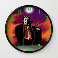 dracula Wall Clocks featuring Dracula by JT Digital Art