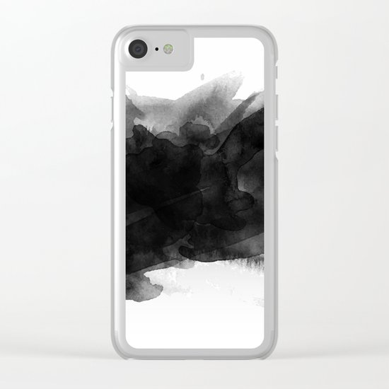 Minimalist watercolor ink Clear iPhone Case