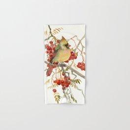 Cardinal Bird and Berries Hand & Bath Towel