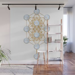 Tree of Life and Metatron Cube Synergy Wall Mural