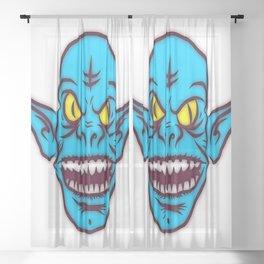 Troll ugly monster alien ears Sheer Curtain