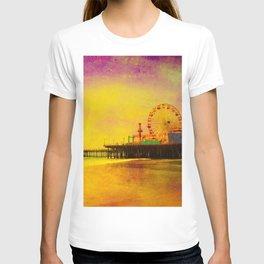 Yellow Purple Santa Monica Pier T-shirt