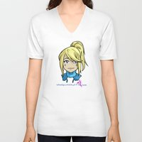 samus V-neck T-shirts featuring Samus by Shotgun Shuffle