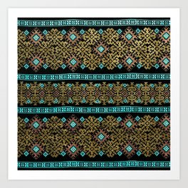Pattern 021 black&gold Art Print