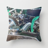 ford Throw Pillows featuring Ford V8 by Shalisa Photography
