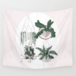 Plant Family Portrait for Plant Moms, Plant Ladies, and Plant Parenthood Wall Tapestry