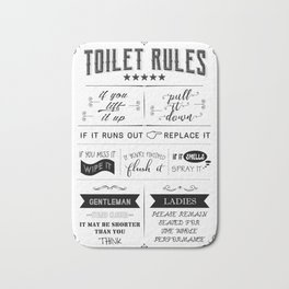 Toilet Rules Poster, Bathroom Print, Funny Quote, Toilet Sign, Restroom Decor, WC Sign, Bathroom Pri Bath Mat