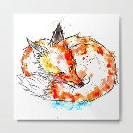 Watercolour Fox Metal Print