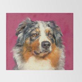 Australian Shepherd - Blue Merle Watercolor Digital Art Throw Blanket