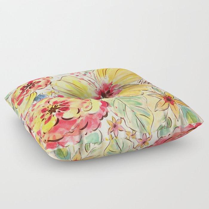 Vibrant Blooms Floor Pillow
