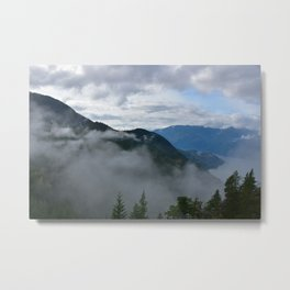British Columbia morning in the mountains and fog Metal Print