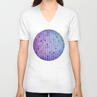 floral pattern V-neck T-shirts featuring FLORAL PATTERN by INA FineArt