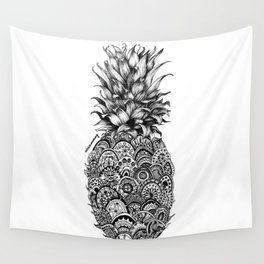Pineapple Zentangle Black and White Pen Drawing Wall Tapestry