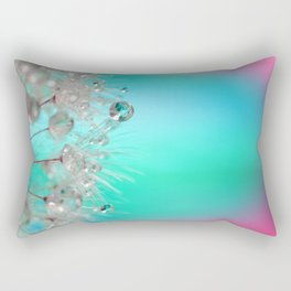 Rise Above it All - rainbow dandelion macro with droplets Rectangular Pillow