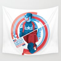 winter soldier Wall Tapestries featuring The Winter Soldier by Florey