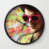 darren criss Wall Clocks featuring Colourful Darren Criss by Ines92