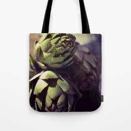Vintage photograph of butchers knife and artichoke still life Tote Bag
