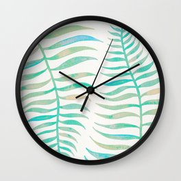Palm Leaf – Sea Foam Palette Wall Clock