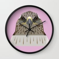 hawk Wall Clocks featuring Hawk by Alysha Dawn