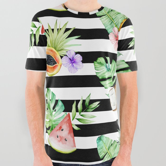 Tropical Fruits Black White Stripes All Over Graphic Tee