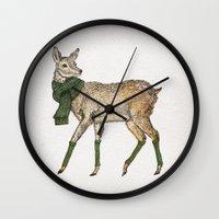 deer Wall Clocks featuring Deer by David Fleck