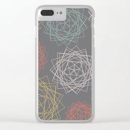 Dark Pastel Origami Blooms Clear iPhone Case
