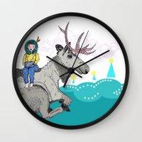 elk Wall Clocks featuring Elk by Anne Augenblick