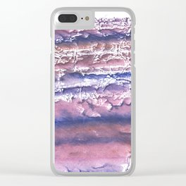Rosy blue streaked watercolor painting Clear iPhone Case