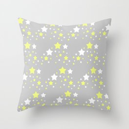 Yellow White Stars on Grey Gray Throw Pillow