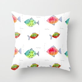 Whimsical fishes watercolor pattern Throw Pillow