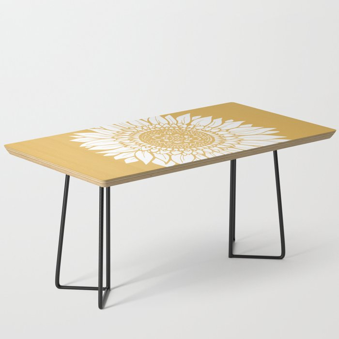 Yellow Sunflower Drawing Coffee Table By Aterkaderk