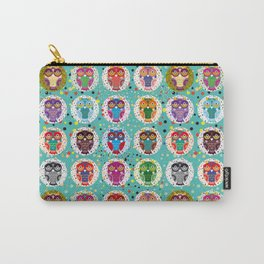 funny colored owls on a turquoise background Carry-All Pouch