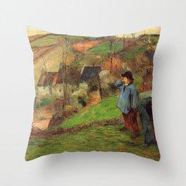 """Paul Gauguin - Landscape of Brittany """"L'Hiver à Pont-Aven"""" (1886) Throw Pillow"""