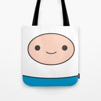 finn Tote Bags featuring Finn by Expired Kimchi