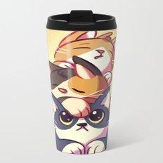 Cat Stack Doodle Metal Travel Mug