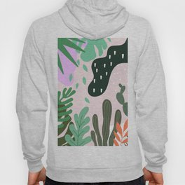 ABSTRACT PASTEL TROPICAL JUNGLE CACTUS PATTERN Hoody