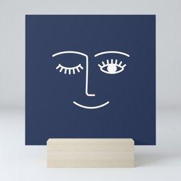 Wink / Navy Mini Art Print