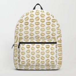 Gold Glitter Lips Backpack