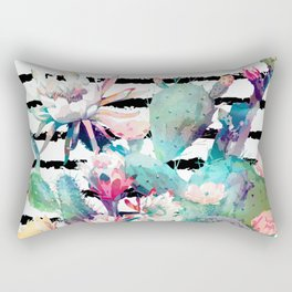 Pretty watercolor cactus floral and stripes design Rectangular Pillow